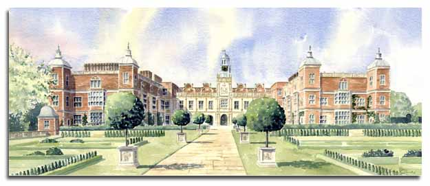 Original watercolour of Hatfield House, by artist Lesley Olver