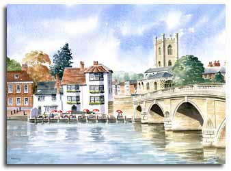 Print of watercolour painting of Henley-on-Thames, by artist Lesley Olver