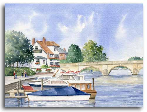 Original watercolour painting of Henley-on-Thames by artist Lesley Olver