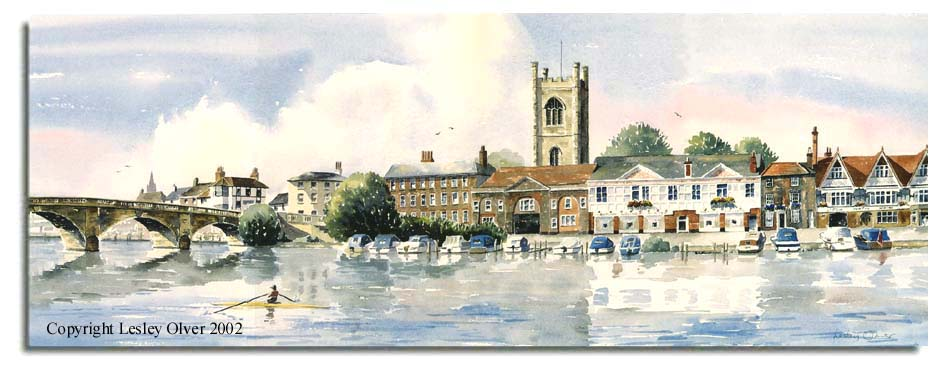 Limited Edition Print of watercolour painting of Henley-on-Thames, Oxon, by artist Lesley Olver