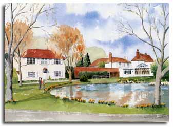 Print of watercolour painting of Holyport, by artist Lesley Olver