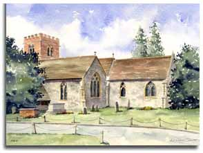 Print of watercolour painting of Hurst, by artist Lesley Olver