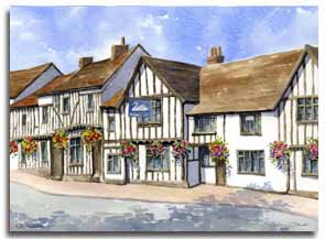 Print of watercolour painting of Lavenham, by artist Lesley Olver