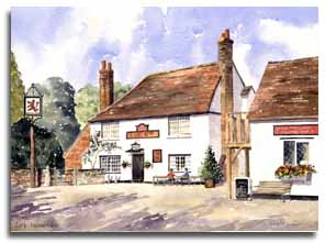 Print of watercolour painting of Little Missenden by artist Lesley Olver