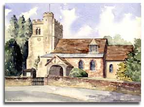 Print of watercolour painting of Little Missenden, by artist Lesley Olver