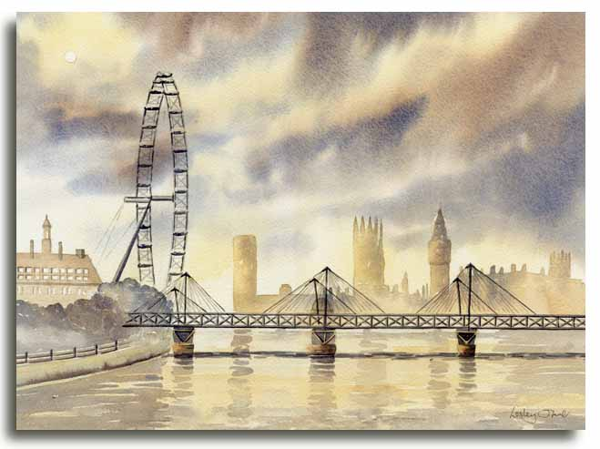 Original watercolour painting of the London Eye by artist Lesley Olver