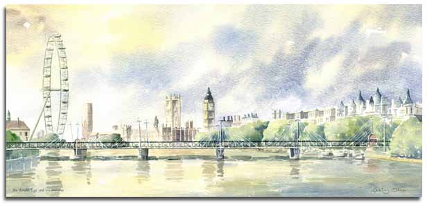 Limited Edition print of a watercolour painting of The London Eye and Westminster, by artist Lesley Olver