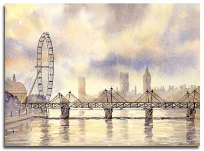 Print of watercolour painting of the London Eye, by artist Lesley Olver