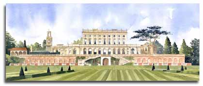 Original watercolour painting of Cliveden House, by artist Lesley Olver
