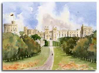 Print of watercolour painting of Windsor Castle, by artist Lesley Olver