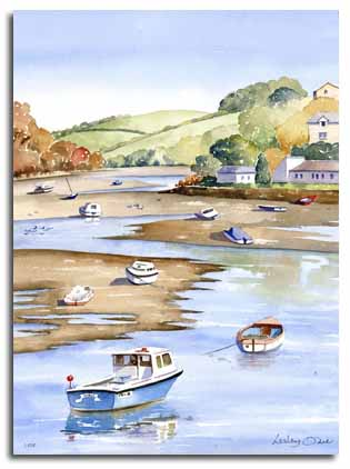 Print of watercolour painting of Looe, by artist Lesley Olver