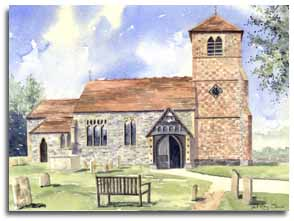 Original watercolour painting of Mapledurham Church, by artist Lesley Olver