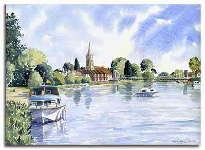 Print of watercolour painting of Marlow, by artist Lesley Olver