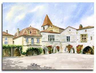 Print of watercolour painting of Monpazier, by artist Lesley Olver