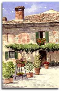 Print of watercolour painting of Montereggioni, by artist Lesley Olver
