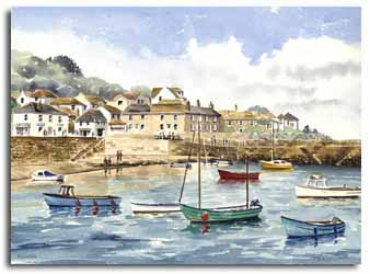Print of watercolour painting of Mousehole, by artist Lesley Olver