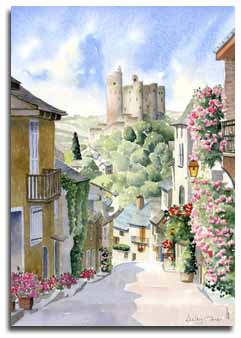Watercolour print of Najac by artist Lesley Olver