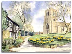 Original watercolour of Old Hatfield Church, by artist Lesley Olver