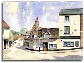 Original watercolour of Old Hatfield, by artist Lesley Olver
