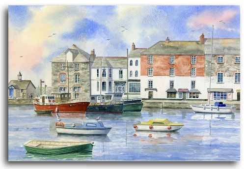Original watercolour painting of Padstow by artist Lesley Olver