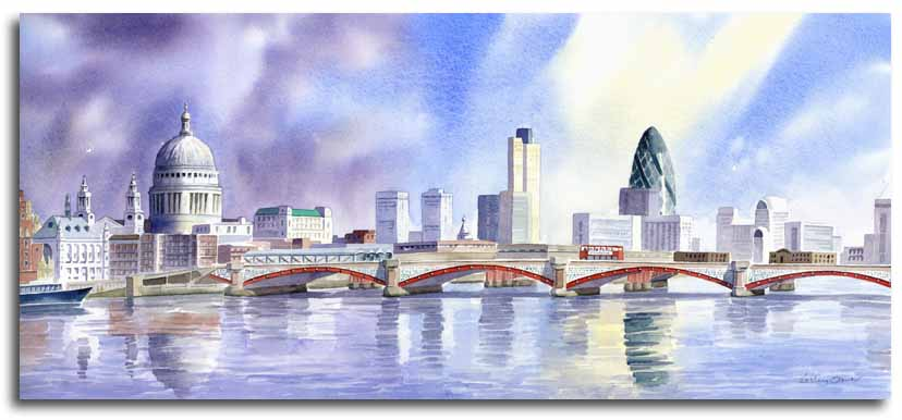 Original watercolour painting of St. Pauls cathedral and the Gherkin by artist Lesley Olver