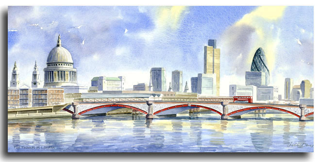 Limited Edition print of London by artist Lesley Olver