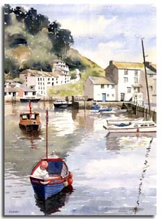 Print from watercolour painting of Polperro, by artist Lesley Olver