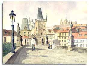 Original watercolour painting of Prague, by artist Lesley Olver