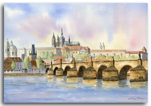 Original watercolour painting of Prague Castle by artist Lesley Olver