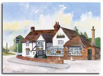 Print of The 'watercolour painting of the 'Red Cow', Slough, by artist Lesley Olver