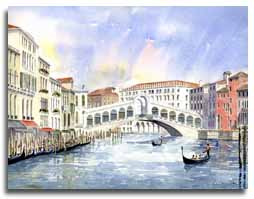 Print of watercolour painting of The Rialto Bridge, Venice, by artist Lesley Olver
