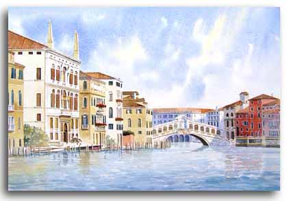 Original watercolour painting of the Rialto Bridge in Venice, by artist Lesley Olver
