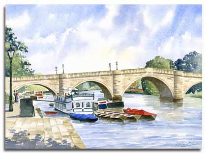 Print of watercolour painting of Richmond-on-Thames, by artist Lesley Olver