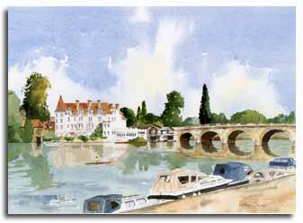 Print of watercolour painting of Maidenhead, by artist Lesley Olver