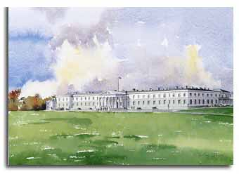 Print of watercolour painting of Sandhurst Military Academy, by artist Lesley Olver