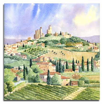 Original watercolour painting of San Gimignano, by artist Lesley Olver