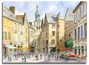 Print of watercolour painting of Sarlat, France,  by artist Lesley Olver