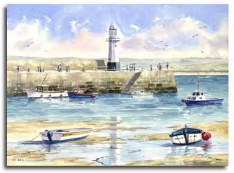 Print of watercolour painting St Ives, by artist Lesley Olver