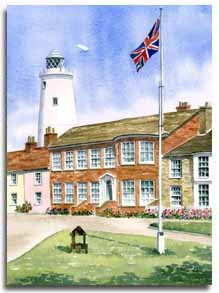 Print of watercolour painting of Southwold, by artist Lesley Olver