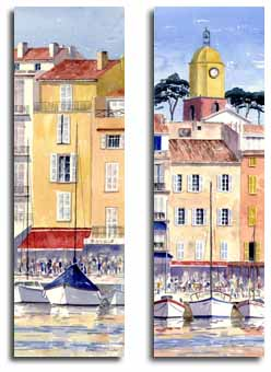 Prints of watercolour paintings of St Tropez, by  artist Lesley Olver