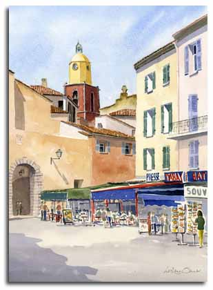 Original watercolour painting of St.Tropez, by artist Lesley Olver