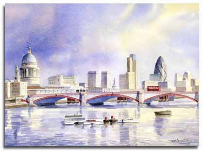 Original watercolour painting of St Pauls Cathedral and the Gerkin
