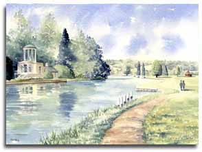 Original watercolour painting of Temple Island, Henley, by artist Lesley Olver