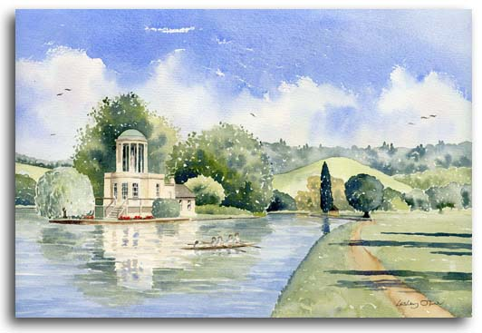 Original watercolour of Temple Island Henley by artist Lesley Olver