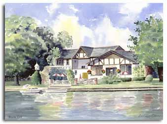 Print of watercolour painting of Bourne End, by artist Lesley Olver