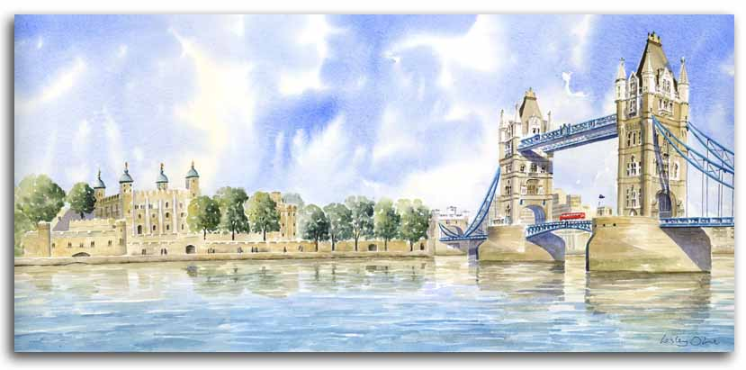 Original watercolour painting of Tower Bridge, by artist Lesley Olver