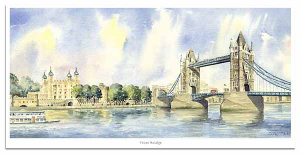 Limited Edition print of watercolour painting of Tower Bridge and the Tower of London, by artist Lesley Olver
