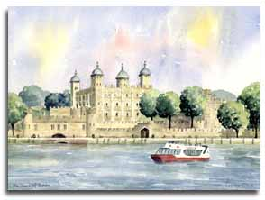 Original watercolour painting of the Tower of London, by artistLesley Olver