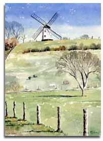 Print of watercolour painting of Turville Windmill by artist Lesley Olver