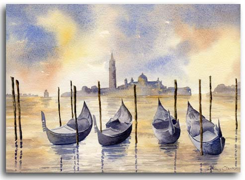Original watercolour painting of Venice by artist Lesley Olver